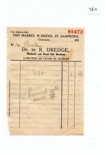 EPHEMERA -780- SMALL- R DREDGE, FISH MERCHANT, GUERNSEY - INVOICE -  1930's