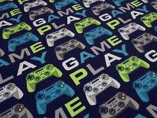 Stoff Baumwolle Jersey Game Play Gamepad Joystick marine blau grün grau