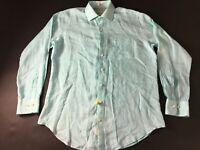 Peter Millar Crown Cool Mens Blue Front Pocket Linen Shirt Size Large