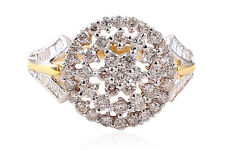 Pave 0.95 Cts Round Brilliant Cut Natural Diamonds Anniversary Ring In 18K Gold