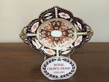 Antique Royal Crown Derby TRADITIONAL IMARI Footed Oval Compote STAPLE REPAIR ~A