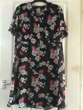 Womens Used TU Black Floral Short Sleeved Shirt Dress Size 20