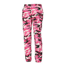 WOMEN ARMY CAMOUFLAGE JOGGER BOTTOMS PINK CAMO JOGGING TROUSER Hip-Hop PANTS HOT