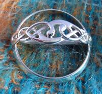 Scottish Ola Gorie Sterling Silver Celtic Scarf Brooch Pin