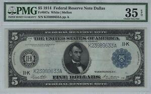 1914 $5 Federal Reserve Note Dallas Fr.887a White/Mellon PMG Choice VF 35 EPQ