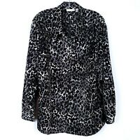 SUSAN GRAVER QVC Black Gray Leopard Animal Print Blouse Top Women's size 1X