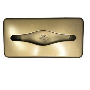 VTG Gold Metal Tissue Box Holder Hollywood Regency Wall Counter Retro Ransburg
