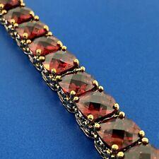 Cut Red Cubic Zirconia Statement Tennis Bracelet J & L Designs 2 Tone Cushion