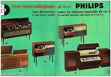 PUBLICITE ADVERTISING 105  1964   PHILIPS   le RADIOPHONO  (2p) de LUXE