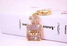 Sparkly Perfume #5 crystal charm Car Purse Handbag Key chain key ring Finders