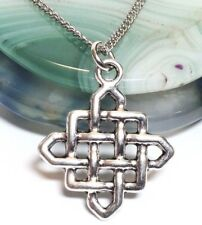 """CELTIC KNOT_Small Pendant on 18"""" Chain Necklace_Irish Buddhist Pagan Silver_62N"""