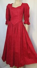 Laura Ashley vestido de noche 38 rojo boda cóctel vintage bucles pelota teatro