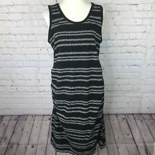 Liz Lange Maternity Tank Bodycon Ruched Dress Size XXL Stretch Black/Beige V18