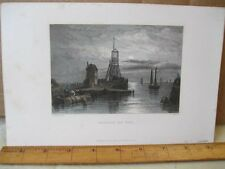 Vintage Print,BOULOGNE OLD PIER,Stanfields,English Channel,1836