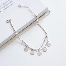 Damen Armband / Fußkettchen Runde Plättchen echt Sterling Silber 925 Fußkette