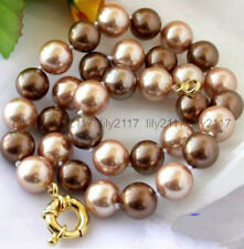 Pretty Genuine 10mm Brown South Sea Shell Pearl Round Beads Necklace 18'' AA