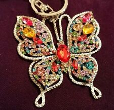 UK Cute Crystal Diamante Colourful butterfly Animal  Keyring Bag Charm Gift 6142