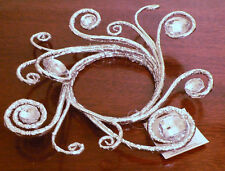 Silver Candle Ring Wedding Decoration Christmas Holiday Faux Rhinestone Bling