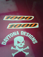 GSXR 1000 BLACK & DAYGLOW RED SEAT UNIT FAIRING PAIR DECALS STICKERS GRAPHICS