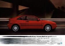 VW CORRADO 16v G60 VR6 Poster Photo Volkswagen Limited Edition Very Rare Advert