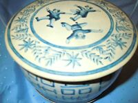 VINTAGE BLUE TIN BUCKET ROUND BOX WESTERN GERMANY EUROPEAN OLD QUALITY NICE
