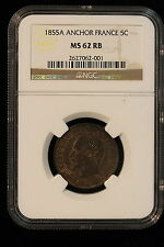 1855 A France. 5 Centimes. Anchor. NGC Graded MS-62 RB