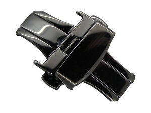 Black stainless steel butterfly deployment clasp 22mm