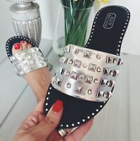 WOMENS GIRLS SILVER GOLD WHITE BLACK DIAMOND STUDDED SLIDERS SANDALS SHOES SIZE