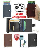 Porta carte di credito in pelle RFID alluminio portafoglio da uomo slim tessere
