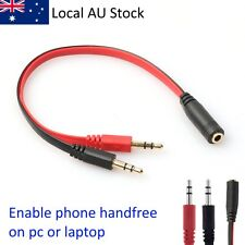 3.5mm AUX Audio Mic Splitter Cable Headphone Adapter 2 Male to 1 Female