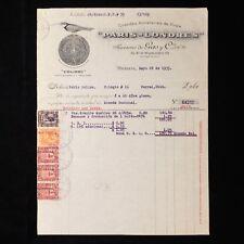 1935 Mexico Antique Invoice with Revenue Stamps -  Sucesores de Gas y Cia, S.A.