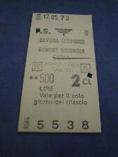 BIGLIETTO TRENO CARTONATO 1973 SAVONA LETIMBRO - GENOVA BRIGNOLE CEVA 4-230/2