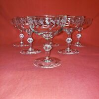 Vintage champagne coupe glasses With cut Laurel  Pattern (6) clear very pretty