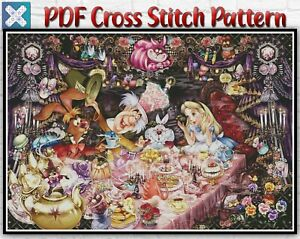 Disney Alice In Wonderland Counted PDF Cross Stitch Pattern Needlework DIY DMC
