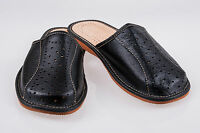 Men's Real Leather Slippers Black Size UK 6,7,8,9,10,11,12 100% Natural Leather