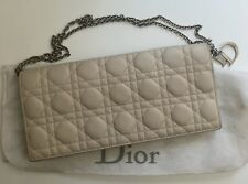 Authentic DIOR Lady Dior Beige Lambskin Leather Cannage Charm Clutch Bag