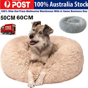 Dogs Faux Fur Bed Self-Warming Bed Couch Warming Indoor Round Pillow Cuddle AU