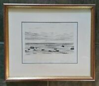 Jakob Nussbaum Seascape Sketched Art Lithograph 1873-1936 Signed in Pencil