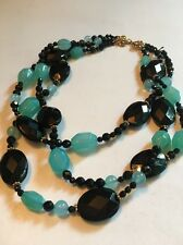 "925 Sterling Silver Clasp Glass Beads Chocker, 3 Strands, 16"" Long"