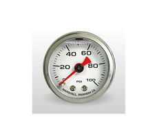 "Marshall Gauge 0-100 Psi Fuel / Oil Pressure White 1.5"" Diameter (Liquid Filled)"