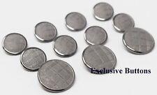 Silver Metal Blazer Buttons Set - Plaid