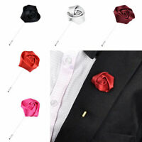 Men Ribbons Rose Flower Corsage Boutonniere Lapel Buttonhole Grooms Wedding Hot