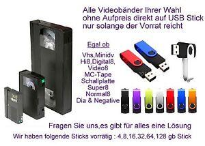 4 Bänder Hi8 Video8 Digital8 digitalisieren im MP4 Format auf USB- Stick inkl.