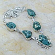 turquesa Rough Jaspe Piedra Preciosa PURE plata de ley 925 Collar 49.5cm a49732