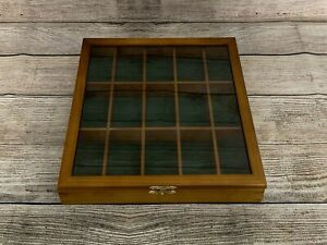 Wooden Model Car Display Show Case Cabinet Wall Mounted Glass Green Lining Used