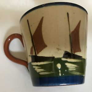 Aller Vale Pottery Cup Motto Ware With Sailing Barges