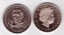 ISLE OF MAN -  RARE VIRENIUM 5 POUNDS UNC COIN 1998 YEAR KM#912 PRINCE CHARLES