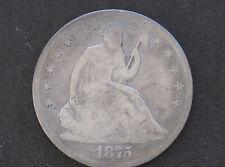 1875 Seated Liberty Silver Half Dollar U. S. Coin D7705