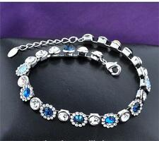 White Gold Plated High Quality Bracelet with Blue Crystals Diamante for Women