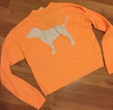 Victoria's Secret PINK Cropped Campus Long Sleeve Pullover Cut Out V Orange XS